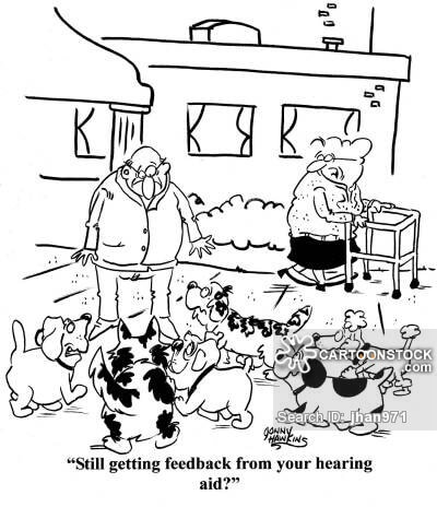 Older lady to husband surrounded by dogs: 'Still getting feedback from your hearing aid?'